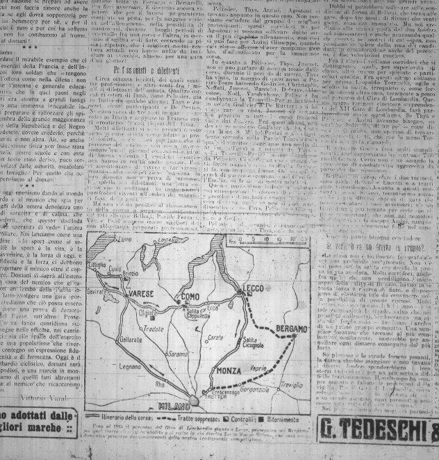 Percorso Giro Lombardia 2.11.1917