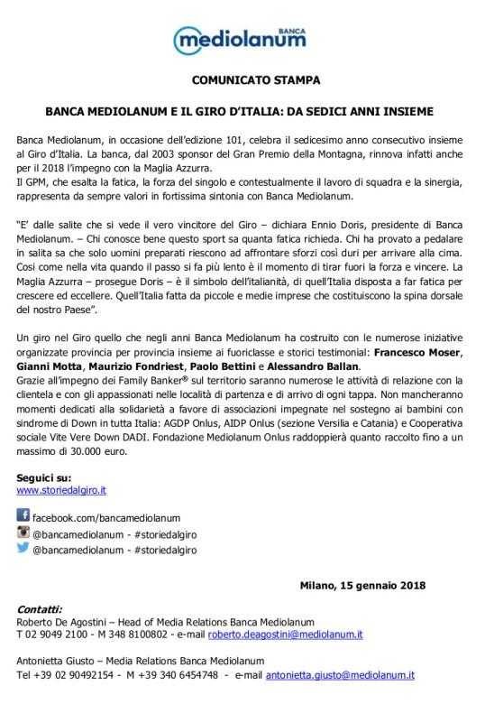 15.01.2018 – Milano – Presentata la Maglia Azzurra del GPM Giro d'Italia 2018 sponsorizzata da Mediolanum