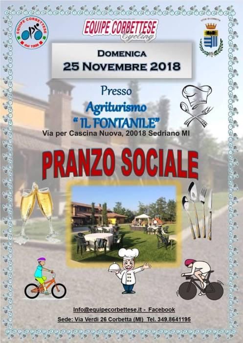 08.11.2018 – Sedriano (Milano) – Domenica 18.11.2018 Pranzo sociale dell'Equipe Corbettese