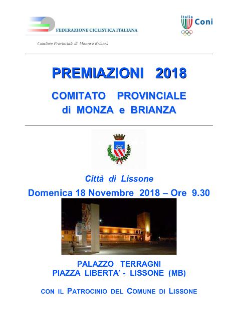 07.11.2018 – Lissone (Monza&Brianza) – Premiazioni anno 2018 CP-FCI di Monza e Brianza domenica 18.11.2018