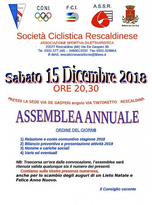 """09.12.2018 – Rescaldina (Milano) – Sabato 15 Dicembre 2018, Assemblea annuale della """"S.C. Rescaldinese 1945"""""""