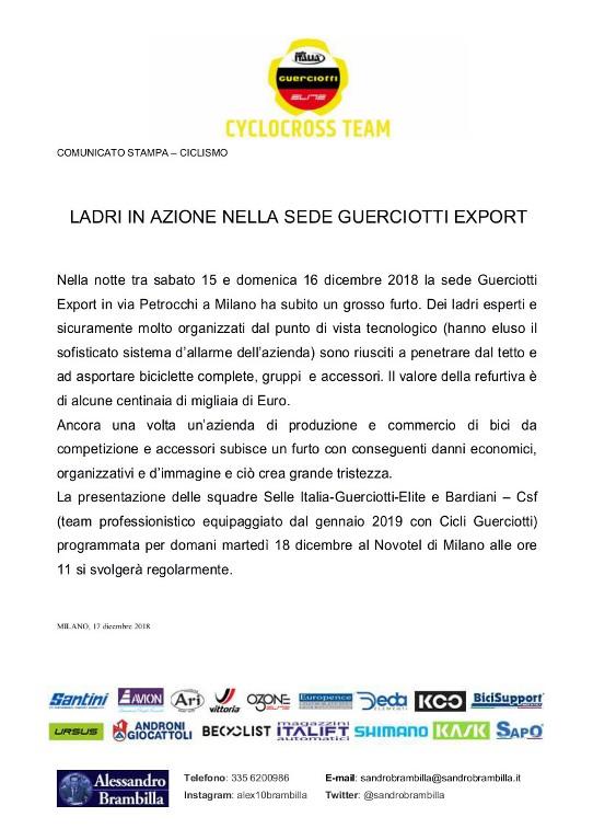 """17.12.2018 – Milano – Maxi furto di biciclette ai danni dell'Azienda """"Guerciotti Export"""""""