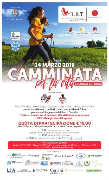 """19.03.2019 – Legnano (Milano) – Domenica 24 Marzo, """"Camminata per la vita"""" della LILT"""