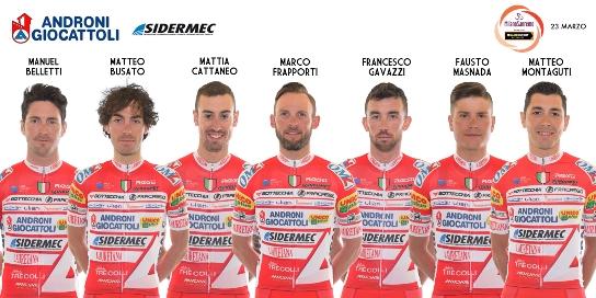 """21.03.2019 – Milano – """"Sanremo"""" il Team Androni Giocattoli-Sidermec cala il suo settebello Tricolore"""