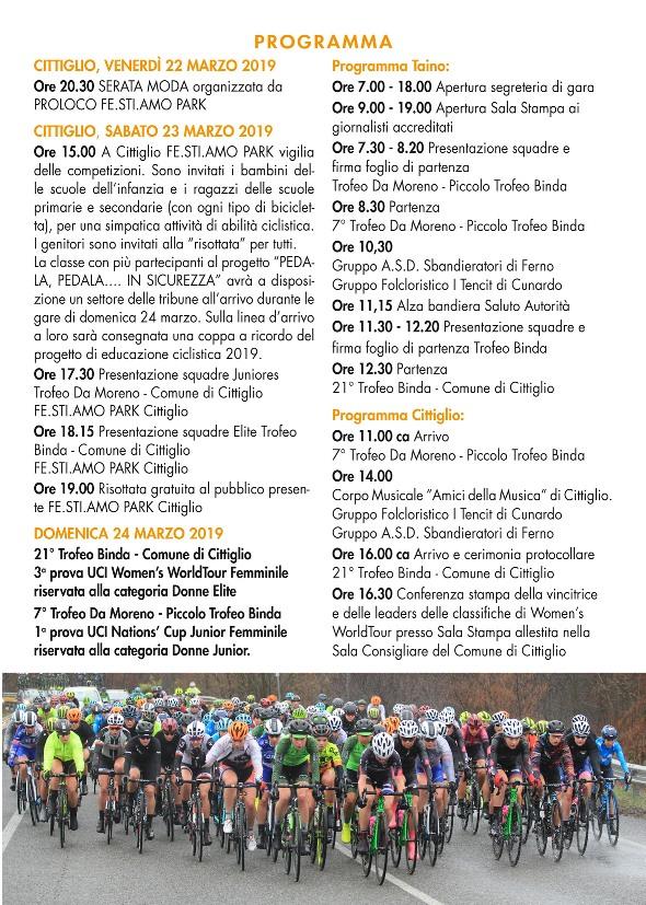 18.03.2019 – Cittiglio (Varese) – Ciclismo Femminile : da Venerdì a Domenica Programma