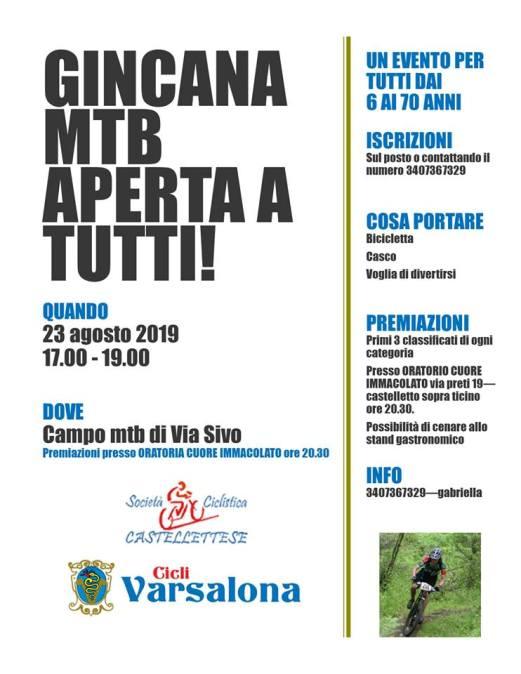 21.08.2019 – Castelletto Ticino (Novara) – Ciclismo : Venerdì 23 agosto Gincana in Mtb aperta a tutti dai 6 ai 70 anni con Gabri Ambrosi in cabina di Regia