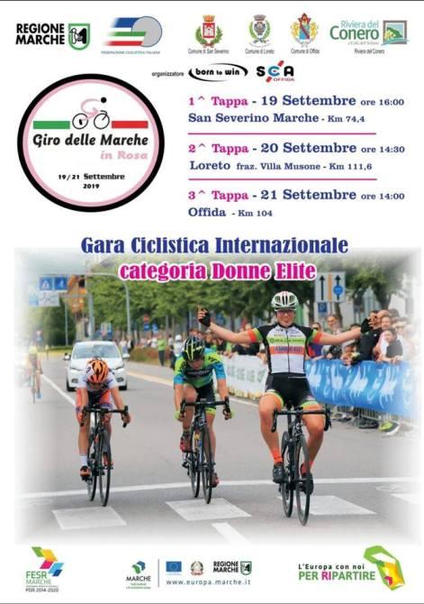 21.08.2019 – San Severino Marche – Ciclismo Femminile : Giro delle Marche Rosa, 3 tappe dal 19 al 21 settembre 2019