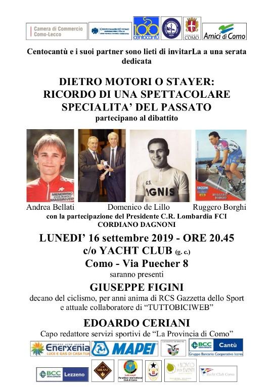 """10.09.2019 – Como – Pista, """"Dietro Motori"""" : Stayer e dintorni con Domenico De Lillo e Cordiano Dagnoni"""